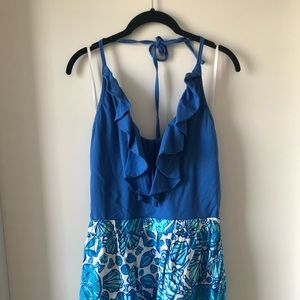 Lilly Pulitzer halter blue seashell halter dress